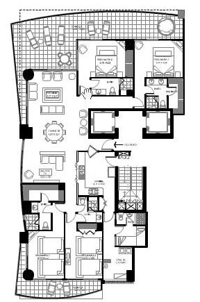 Cancun condo rental 4br 4 bath unit 1404 for 4 unit condo plans