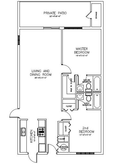 Penthouse Towers 2 bedroom condo floor plan