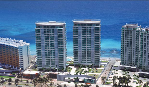 Another view of the twin towers of Pottofino Cancun Condo