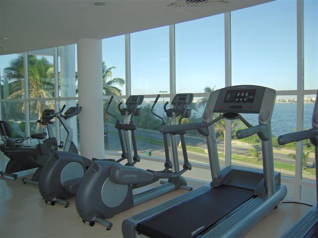Fully equipped gym overlooking lagoon