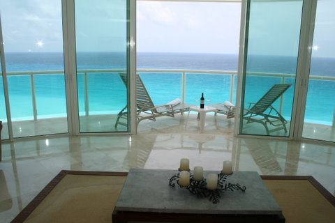 amazing views of entire Cancun beach from terrace