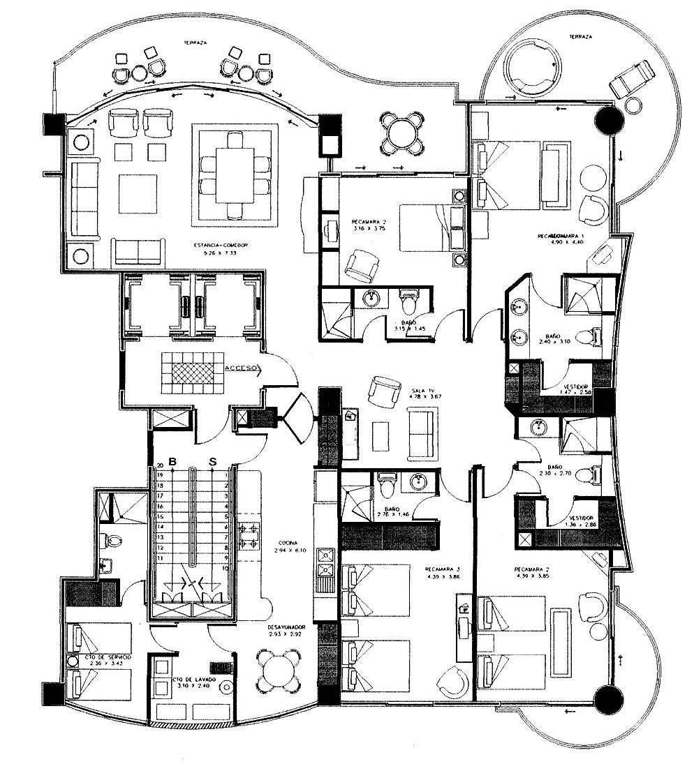 Bay view grand 4 br 4 bath tower 1 unit 1401 1 050 000 for 4 unit condo plans
