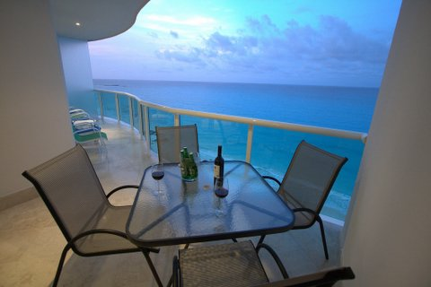 Private oceanfront  patio with views of Caribbean Sea