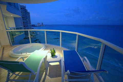 Private Master Bedroom patio with Views of the Caribbean