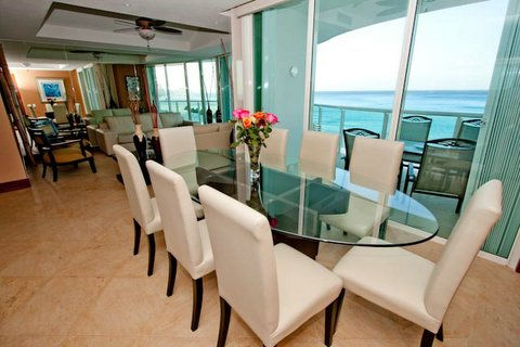 Great Room dining area offers views of Caribbean Sea