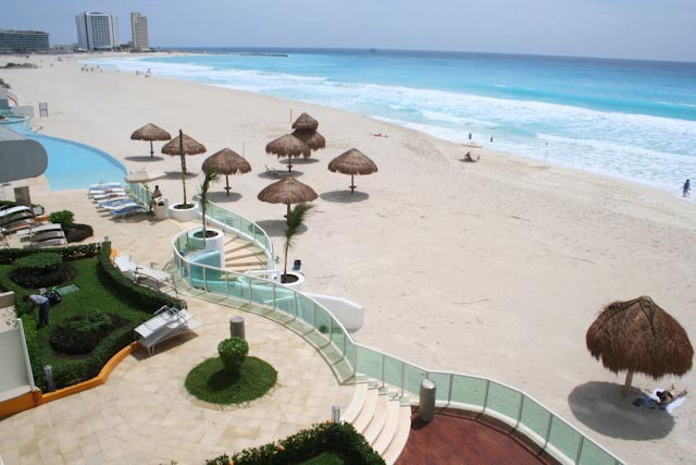 more breathtaking view of entire Cancun hotel zone from Caribbean side terrace